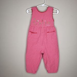 OshKosh B'Gosh Pink Sleeveless Coverall Gingham 2T